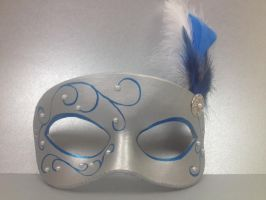 Silver and blue masquerade masks by maskedzone