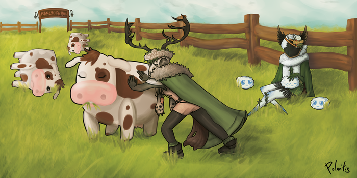 Me and my buddy, tipping some cows by Polaritis