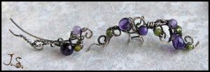 Violets near stream silver ear cuff and pin by JSjewelry