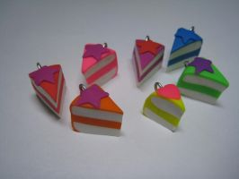 7 Rainbow Cake Charms 1 of 8 by Skookyspry-Creations