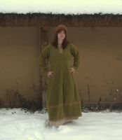 Green woolen dress by weavedmagic