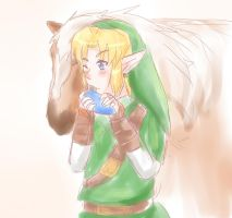 Quick Sketch Link And Epona by NarutoxHinatafan