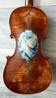Hand Painted and carved Violin fantasy Design II by Hollow-Moon-Art
