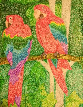 Pointillism: Macaws by ExpeditionFantasy