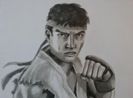 Ryu drawn with Markers by CptMunta