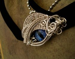 Custom - Baby Dragon Eye Choker Pendant by LadyPirotessa