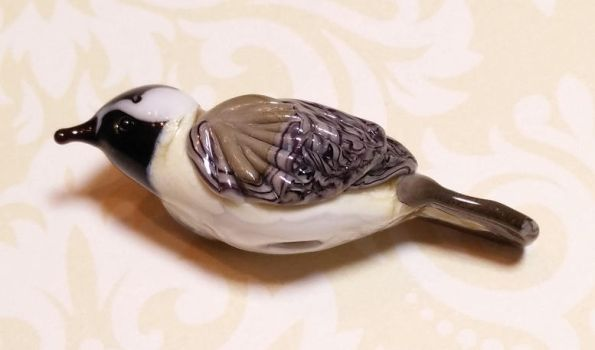 Little soft glass chickadee bead by penguine145