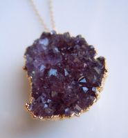 Amethyst Druzy Necklace in Gold RARE by 443Jewelry
