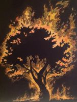Tree on fire by Diafletch