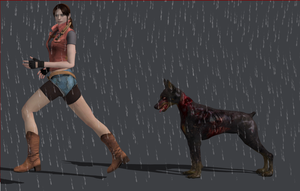 Claire vs zombie dog by deangagaTR