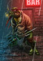 Raphael in the rain by MightyMoose
