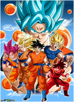Dragon Ball Goku Faces Poster by lucario-strike