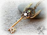 Golden Crystal Compass Key Necklace by ArtByStarlaMoore