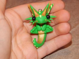 Green Sitting Dragon Charm by XDtheBEASTXD