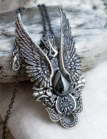 Dark Angel Pendant -Hematite by Aranwen