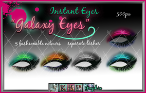 Galaxy Eyes - painted eyeshadow and eyelash psd by MakeMeMagical