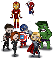 Mini-Avengers + Spidey by CubicInsanity