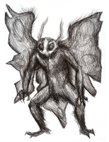 Mothman in pen by SabreBash