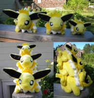 Jolteon plushie triplets by PeaceFluffles
