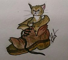 Inktober #2 - Puss in Boots  by hatoola13