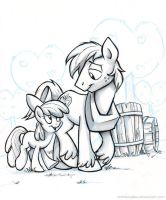Sketch - Big Mac and Apple Bloom by sophiecabra
