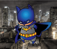 Chibi Batman Colored (With Background) by CliffEngland