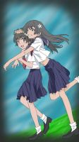 Saten and Uiharu Surprise Hug by TLL-MatheX