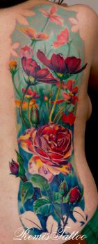 realistic color tattoo of flowers by Remistattoo