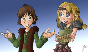 Hiccup and Astrid by Ian-the-Hedgehog
