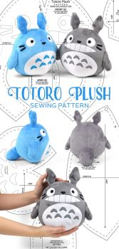 Totoro Plush Sewing Pattern by SewDesuNe