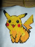 Pikachu- My first Cross Stitch by LilliumRyn