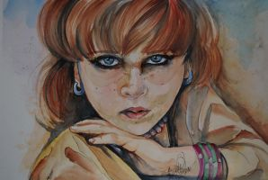 Afghan girl water color painting by fairiesndreams