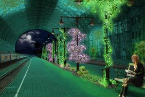 Bio-Illuminated Train Station by Simbores
