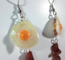 Bacon and Eggs Breakfast Earrings by KLynnDaughtry