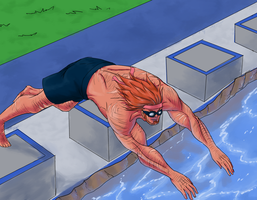 AoH Sports Event - Dervon goes Swimming by Drakedragon