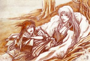 Sesshomaru and Rin by Clange-kaze