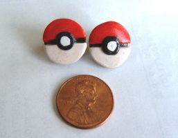 Pokeball Stud Earrings by Red-Flare