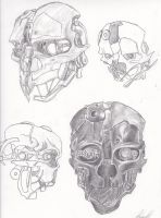 Dishonored mask sketches by PopoKarimz