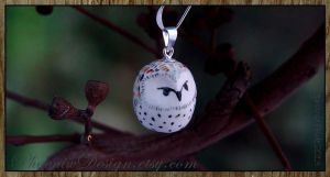 Grumpy Barn Owl Ceramic Pendant by StephaniePride