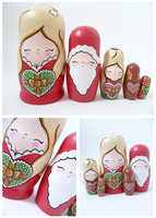 Christmas themed Russian Dolls by ponychops