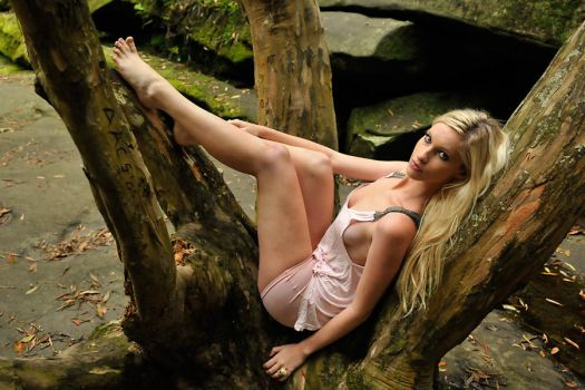 Kahli - pink top in tree 1 by wildplaces