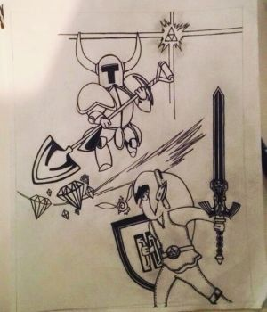 Link Vs Shovel Knight - Inked by Chrisapp8