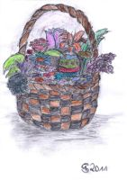Flowers in a basket by ConfusedCupcake
