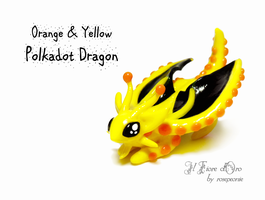 Yellow and orange Polkadot dragon by rosepeonie