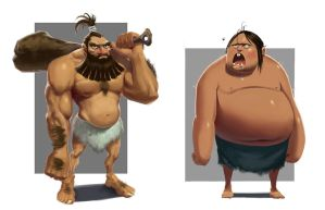 Character concept - Cavemen by Jad-Saber
