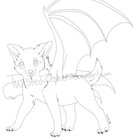 Winged Wolf Pup Line Art by TwistedZepher