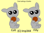 Foal eating a cookie base by Imp344