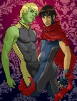 Hulkling and Wiccan by Kimballgray