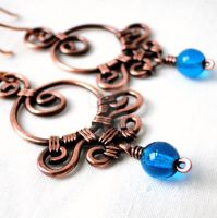 Aqua Blue Wire Wrapped Copper Earrings by KariLuJewelry