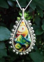 Beaded Coiled Transfer Pendant by Create-A-Pendant